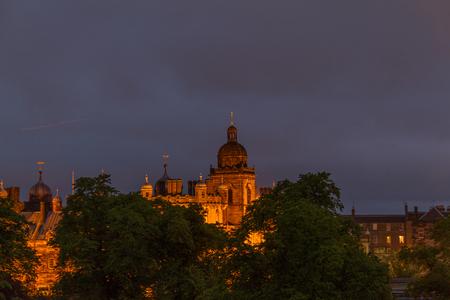 night school: Night vewi of Illuminated George Heriots School in Edinburgh, Scotland  on cloudy night. A historic building