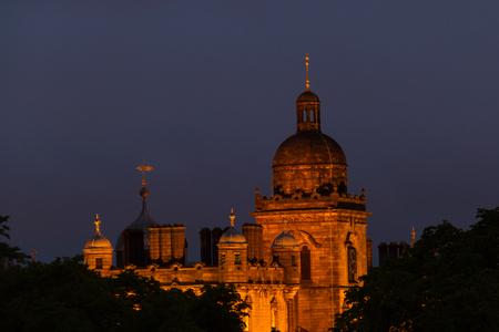 night school: Night vewi of Illuminated George Heriots School in Edinburgh, Scotland. A historic building