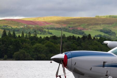 hydroplane: Hydroplane propeller and background lake view in Loch Lomond, Cameron Bay, Scotland Stock Photo