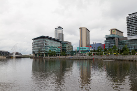 lowry: Manchester, England - June 12, 2016: The Salford Quays with the Media City in view