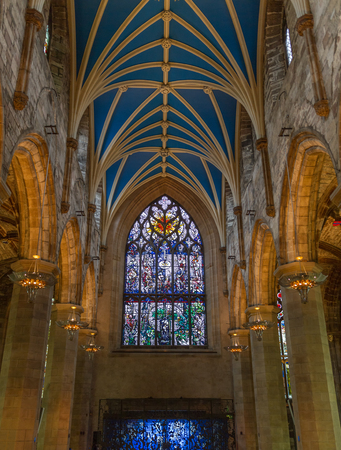 giles: Edinburgh, Scotland - June 14, 2016: Interiors of St Giles Cathedral- the most important cathedral of Scotland