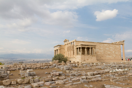 Erechtheum temple ruins on the Acropolis in Athens, Greece  on an August afternoon