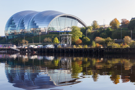 Newcastle, England - October 25, 2016: Sage Gateshead concert hall on Newcastle Gateshead Quayside. It is located on the south bank of River Tyne.