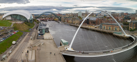 Panoramic view of Newcastle and Gateshead Quayside and Bridges, England