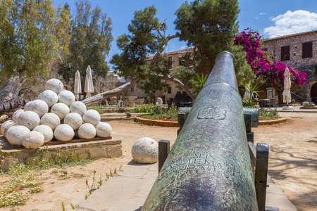 Cannon and cannon balls in old Famagusta, island of Cyprus