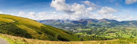 Panoramic view of Keswick, lake Derwent Water and the fells from Latrigg, Cumbria, UK