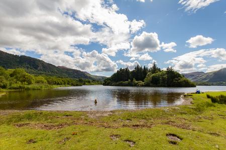 Panoramic view of Derwnt Water Lake with swimming dog, Keswick, Cumbria, UK Stock Photo