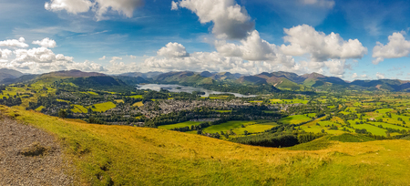 lake district: Panoramic view of Keswick and lake Derwent Water from Latrigg, Cumbria, UK