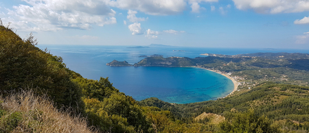 Beautiful panoramic seascape view of bay at Ag, Georgios Armenadon in the north west of the island of Corfu, Greece Stock Photo