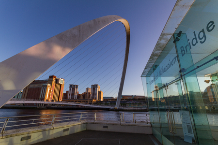 Newcastle, England - December 31, 2017:  View of the Gateshead Millennium Bridge and Baltic Centre of Contemporary Art in the afternoon on New Years eve Editorial