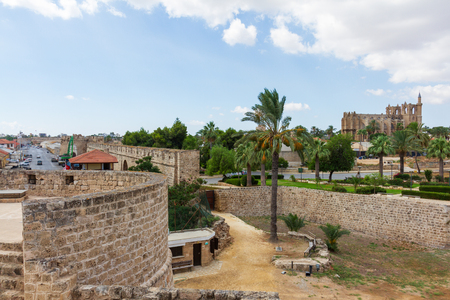 View of Medieval Famagusta from Othello Tower with Medieval Cathedral of St Nicholas (Lala Mustafa Pasha Mosque) in the distance 스톡 콘텐츠