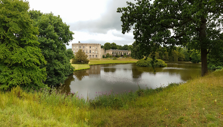 Stockport, United Kingdom - July 24, 2018: Lyme Hall, a historic English stately home inside Lyme Park in Cheshire, England. It is a popular tourist attraction. Editorial