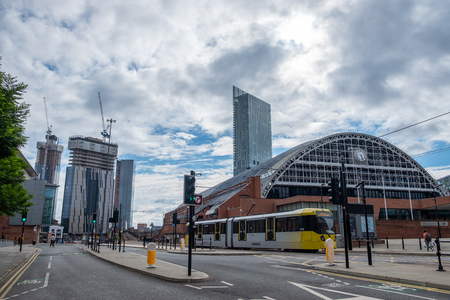 Manchester, United Kingdom - July 21, 2018: The Manchester Central Convention Complex in the foreground and extensive construction in the background. Greater Manchester is experiencing a building boom of new commercial buildings