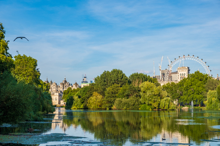 St James's Park in London with London Eye in the background on a beautiful summer afternoon