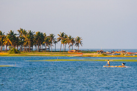 Fishermen Catching Fish at Chennai Buckingham Canal with Palm Trees in the background on a beautiful afternoon