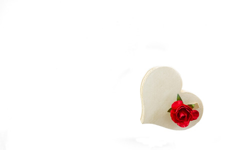 Wooden heart and red rose isolated on white design for Valentines Day Stock Photo