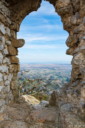 Kantara, Cyprus - June 29, 2018: Window view from the castle of Kantara,  the easternmost castle of the three Pentadaktylos mountain range castles in the Ammochostos district in Cyprus.