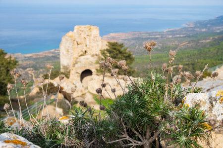 Kantara, Cyprus - June 29, 2018: The castle of Kantara,  the easternmost castle of the three Pentadaktylos mountain range castles in the Ammochostos district in Cyprus.