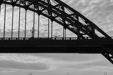 Silhouettes of a section of Tyne Bridge and a flying Sea Gull in Newcastle upon tyne in the UK