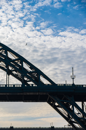Silhouette of Tyne Bridge and a Sea Gull flying in the distance against a beautiful sky in Newcastle upon tyne in the UK