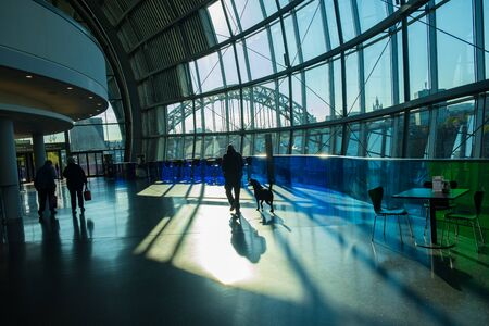 Newcastle, United Kingdom - April 29, 2019: Interior view of the Sage Gateshead. This modern building is an international  home for music. It is located on the south bank of river Tyne in Newcastle, UK.
