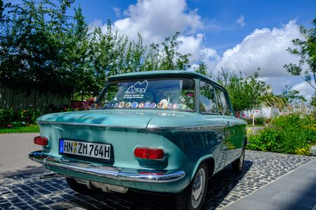 Heilbronn, Germany - August 8, 2019: An old NSU Prinz car exhibited at the 2019 Federal Garden Show BUGA in Heilbronn, Germany