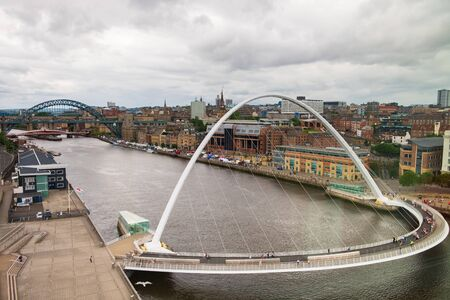 Newcastle, United Kingdom -June 30, 2019: Panoramic view of Newcastle and Gateshead Quayside and Bridges in north east  England