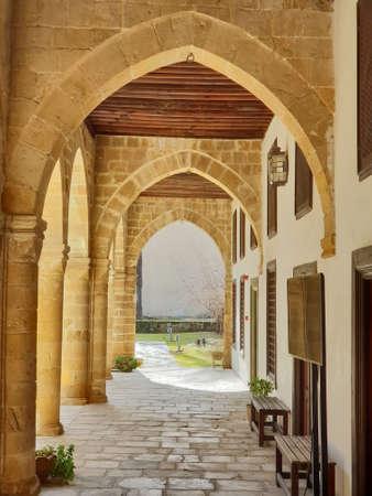 Courtyard of Hadjigeorgakis Kornesios Mansion in the old sector  of Nicosia, Cyprus Stok Fotoğraf
