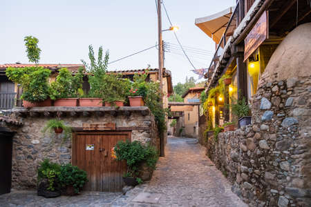 Picturesque narrow streets of old Kakopetria village in the Troodos mountains in the island of Cyprus