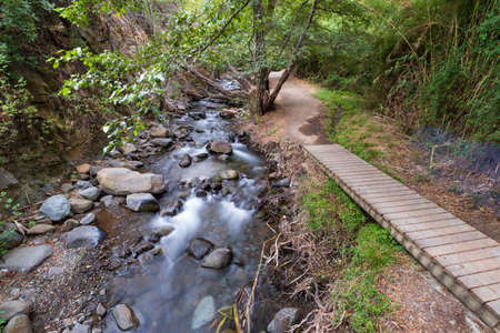 Pure water stream flowing over rocky mountain terrain along the Vateri footpath in the Kakopetria forest in Troodos, island of Cyprus. Imagens