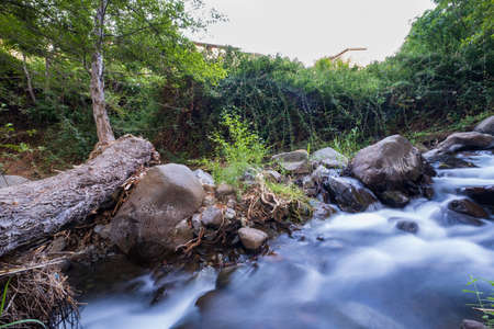 Pure water stream flowing over rocky mountain terrain in the Kakopetria forest in Troodos, Cyprus. Slow exposure creating sooth flow impression.