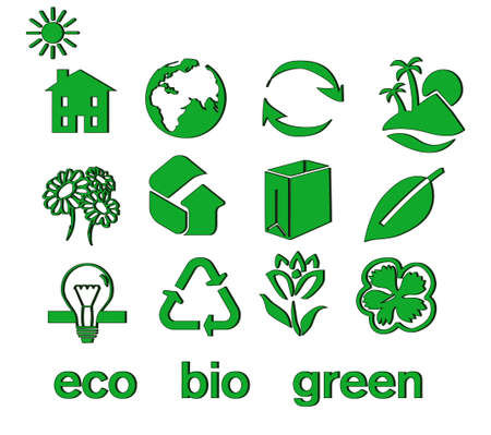 Set of green eco & bio icons, stickers and tags for web and applications Stock Vector - 7028489