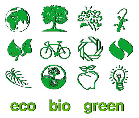 Set of green eco & bio icons, stickers and tags for web and applications Stock Vector - 7028496