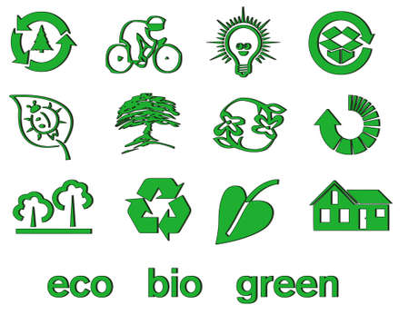 Set of green eco & bio icons, stickers and tags for web and applications Stock Vector - 7028490