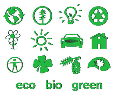 Set of green eco & bio icons, stickers and tags for web and applications Vector
