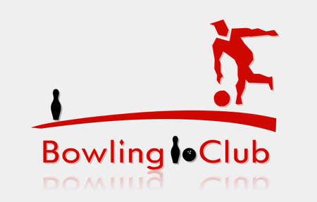 kegelen: Bowling club met silhouet van man