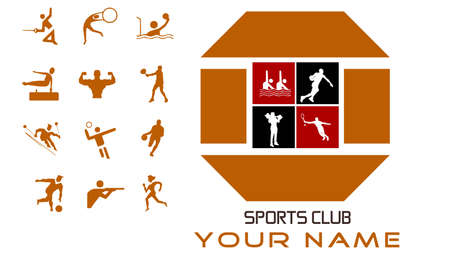 Sports club concept design and bonus icons Stock Vector - 7028479
