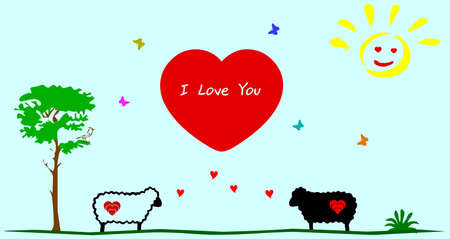 happy love sheep - greeting card  Vector
