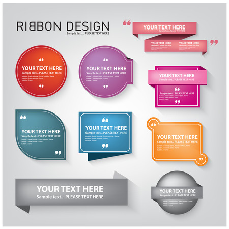 web store: Color ribbon and tag design with a simple symbol . Illustration