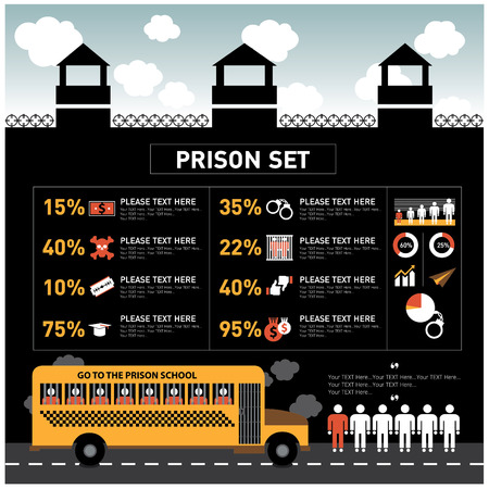 prison: Infographic prison uniform and a series of icons.