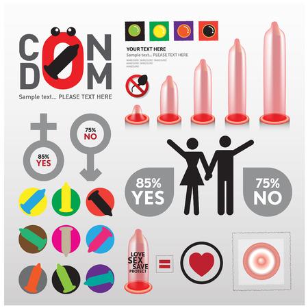 educacion sexual: info condón gráfico Vectores