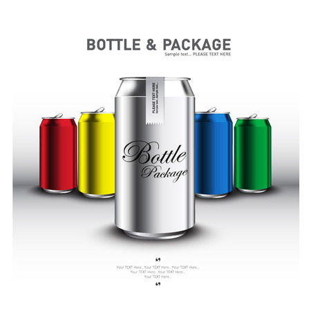 bottle with water: canned for advertising