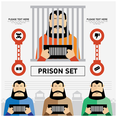 gefangener: Gefängnis-Set für Werbung Illustration