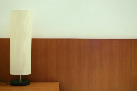 chrome base: lamp on the desk Stock Photo