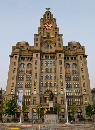 Liverpool, UK - May 27, 2014  The Royal Liver Building on the Pierhead at Liverpool on 27th May 2014