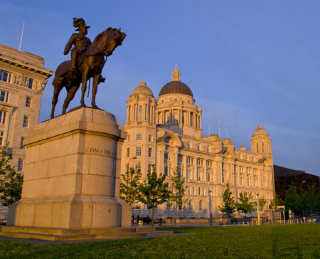 Liverpool, UK - May 27, 2014  Historic Port of Liverpool building and Equestrian statue of King Edward VII on 27th May 2014