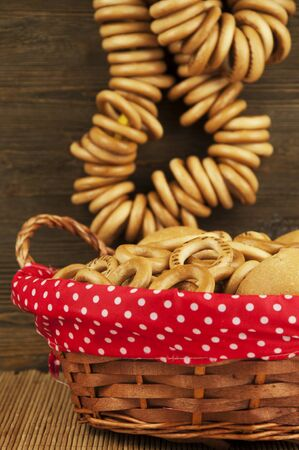 bakery products: Bakery products in a wicker basket