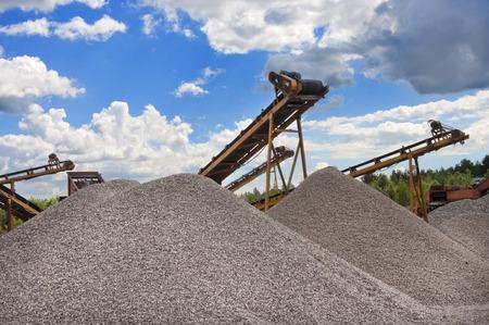 crushing: gravel crushing and screening plant Stock Photo