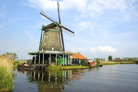 Windmill in Zaanse Schans (the Netherlands) Stock Photo