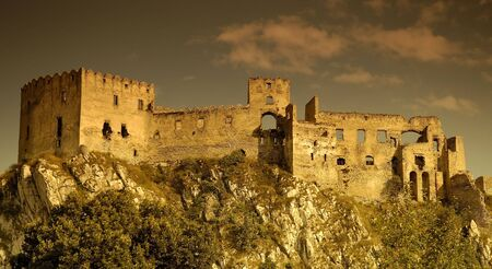 mystique: Dramatic view on Beckov ruins, slovakia Stock Photo
